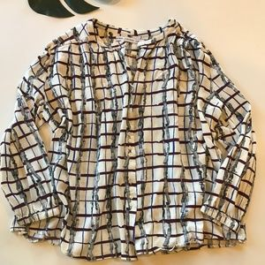 & Other Stories Womens Size 10 Medium Grid Blouse